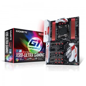 Gigabyte GA-X99-Ultra Gaming Carte mère ATX Socket 2011-3 Intel X99 Express - DDR4 - SATA 6Gb/s - U.2 - M.2 - USB 3.1 - 4x PCI-Express 3.0 16x - lumineuse