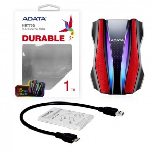 HDD EXTERNE  ADATA Durable Series HD770G RGB 1 To Red External USB 3.1 Portable Hard Drive Compatible with Xbox and PS4